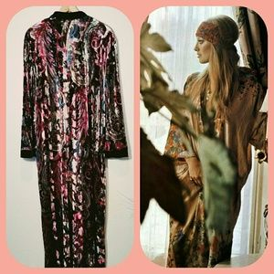 Vintage Velveteen Paisley Maxi Dress Robe Bohemian